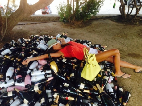 Heap-of-champagne-bottles-photo-posted-on-Pinky-Beach-Mykonos-Facebook-page