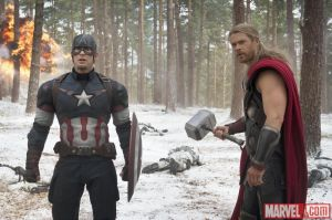 Captain-America-Chris-Evans-and-Thor-Chris-Hemsworth-on-the-battlefield-in-Marvels-Avengers-Age-of-Ultron