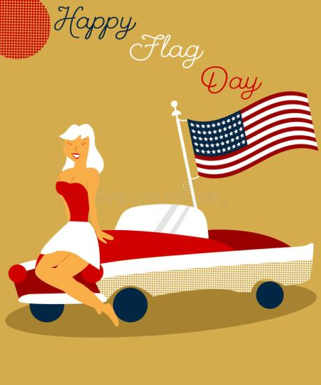 holiday-vintage-poster-pin-up-girl-cadillac-american-flag-flag-day-usa-98045911