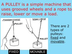 There are 2 types of pulleys: fixed and movable. FIXED. MOVABLE.